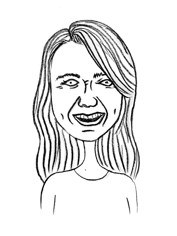 Sketched Caricature of Jenny McLarney