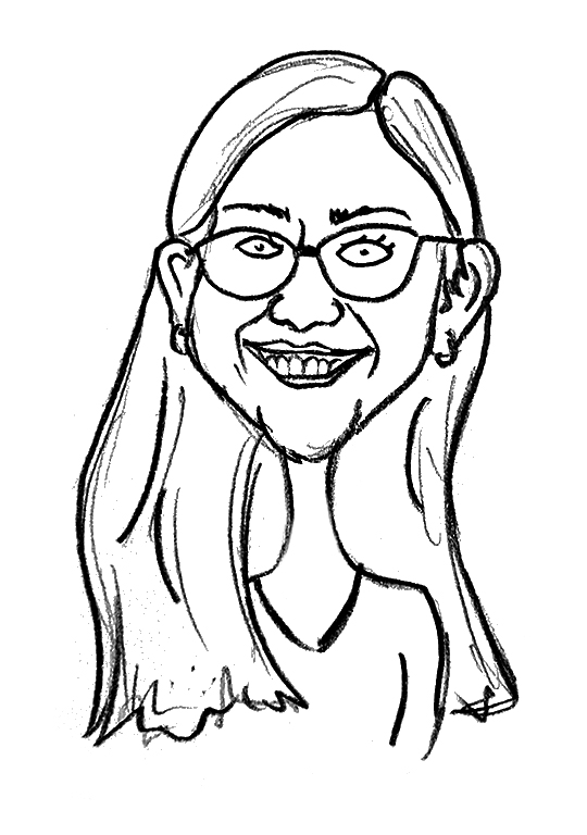 Sketched Caricature of Marcela Ortiz
